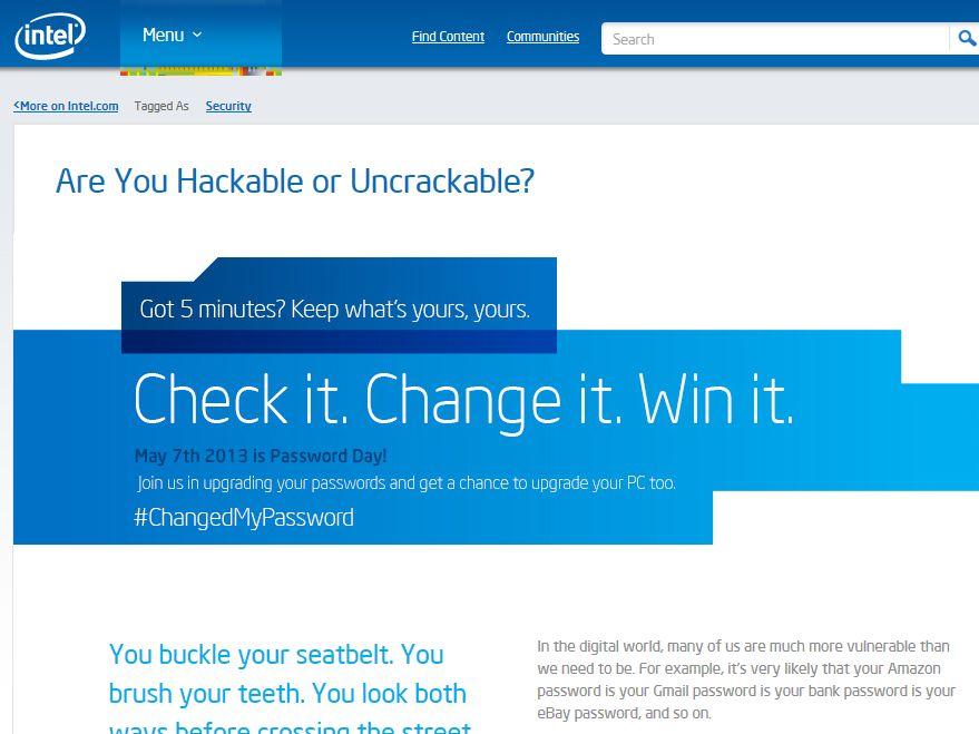 Intel Password Win Sweepstakes
