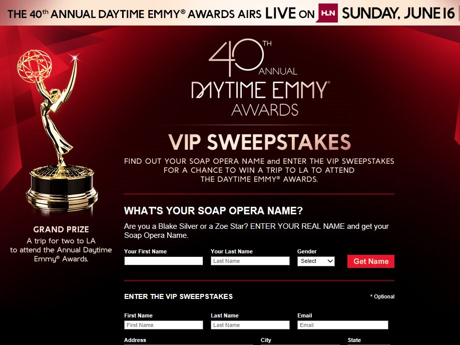 HLN/40th Annual Daytime Emmy Awards VIP Sweepstakes