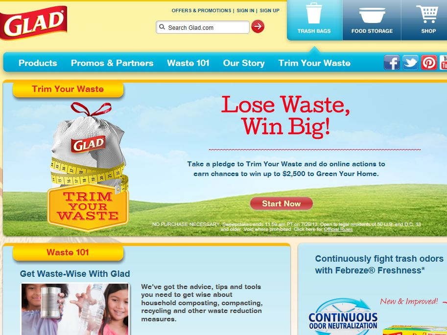 Glad Trim Your Waste Sweepstakes