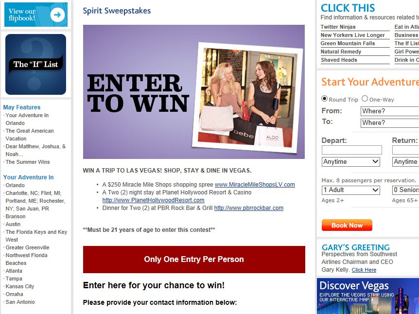 Spirit Win a Trip to Las Vegas, Shop, Stay & Dine in Vegas Sweepstakes
