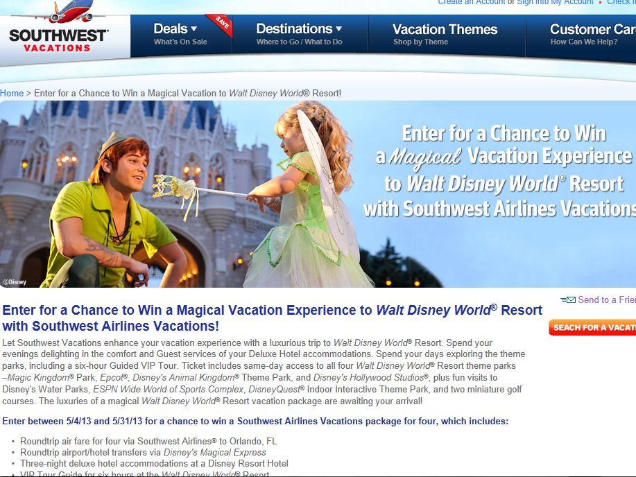 Southwest Magical Vacation to Walt Disney World Resort Sweepstakes