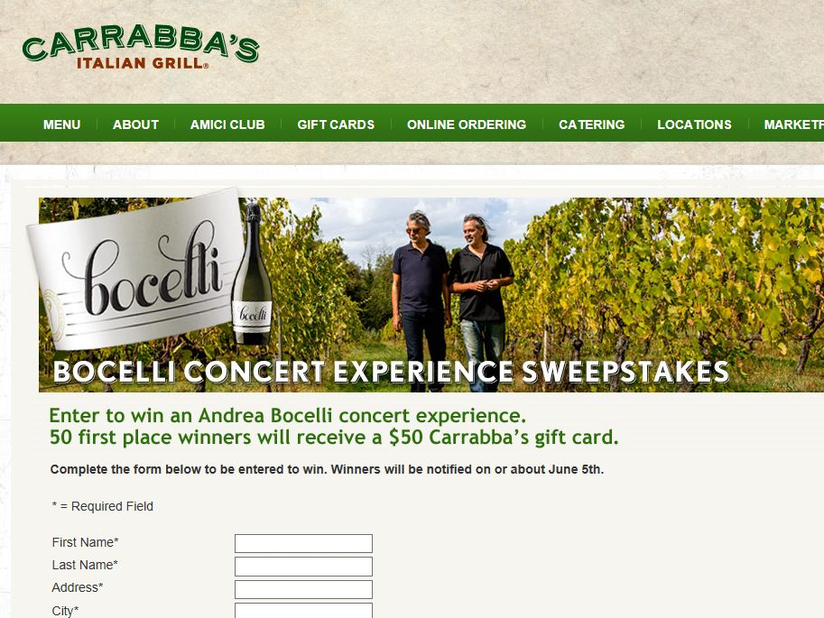 Carrabba's Italian Grill Bocelli Concert Experience Sweepstakes