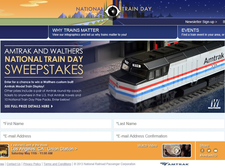 Amtrak and Walthers National Train Day Sweepstakes