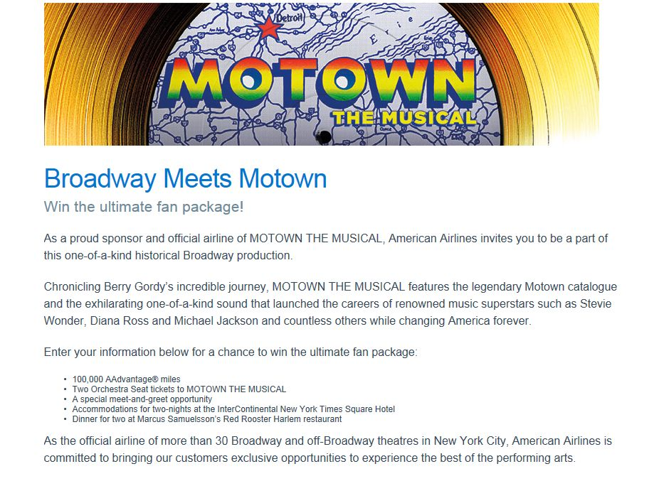 American Airlines Broadway Meets Motown Sweepstakes