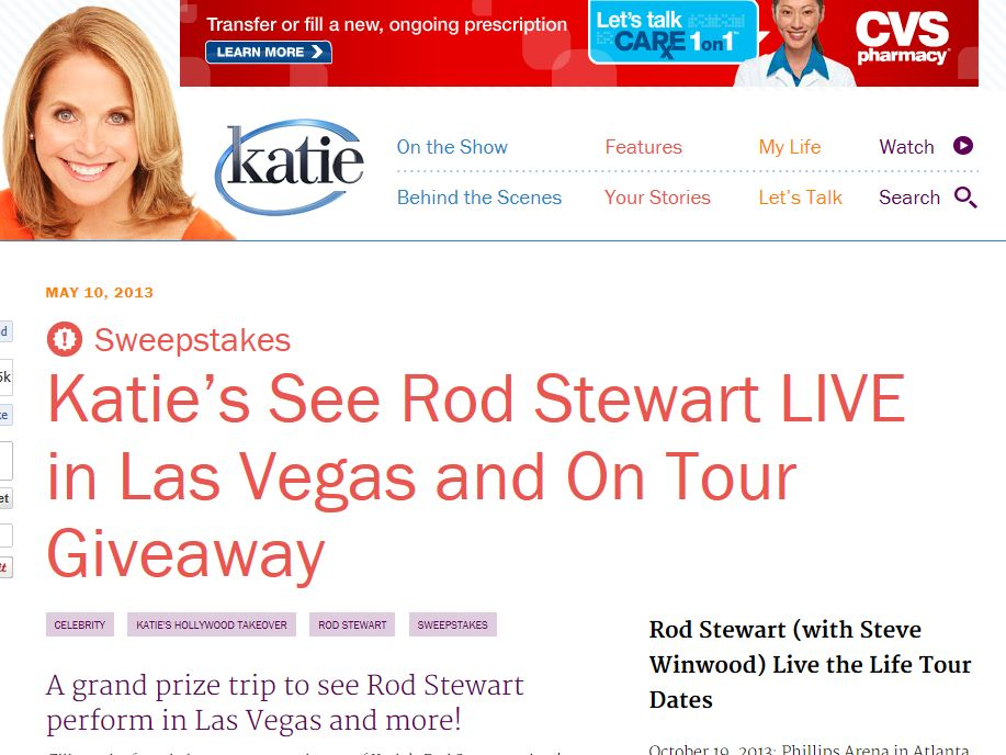 Katie's See Rod Stewart LIVE in Las Vegas & On Tour Giveaway