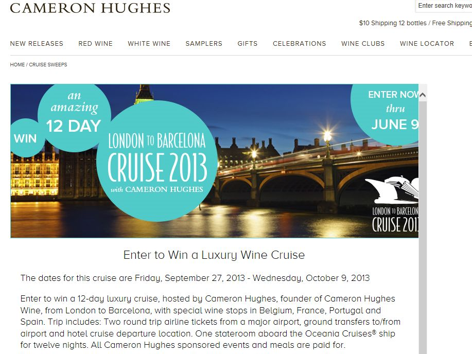 Cameron Hughes Wine Win A Luxury European Cruise Sweepstakes