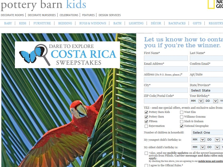 Pottery Barn Kids Dare to Explore Costa Rica Sweepstakes