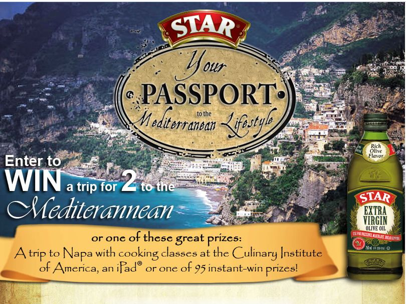 Star Olive Oil Your Passport to the Mediterranean Lifestyle Sweepstakes
