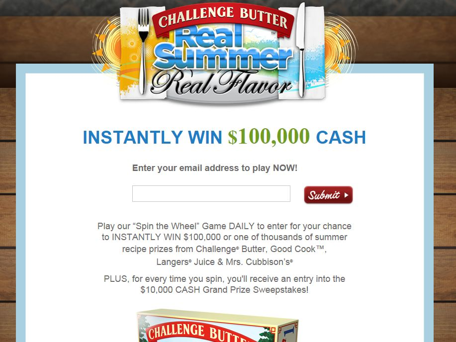 Challenge Butter $100,000 Real Summer, Real Flavor Instant Win Game & Sweepstakes