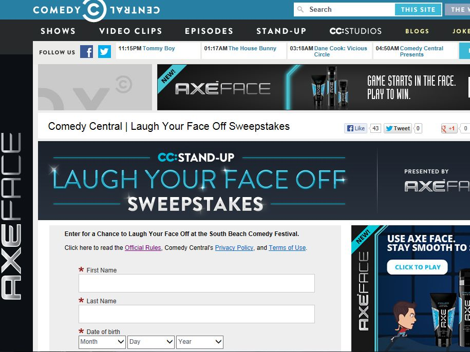 Comedy Central Laugh Your Face Off Sweepstakes
