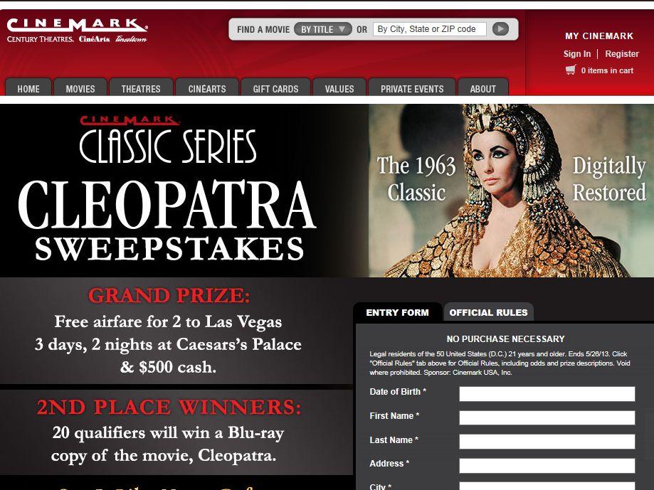 Cinemark's Vegas Sweepstakes