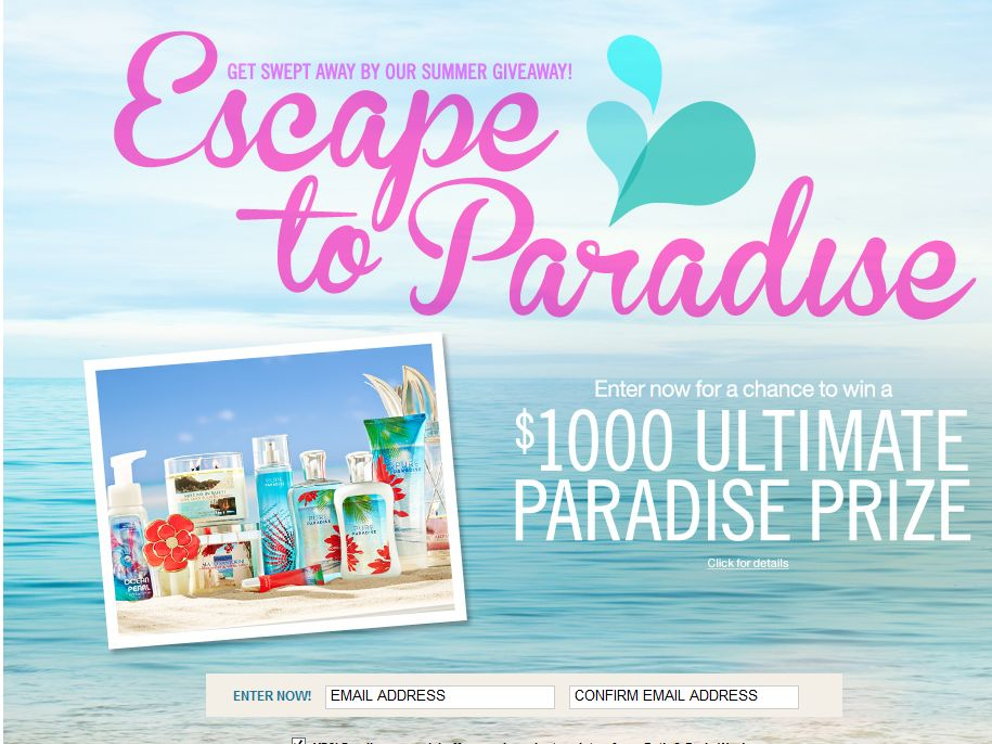 Bath & Body Works Ultimate Paradise Sweepstakes