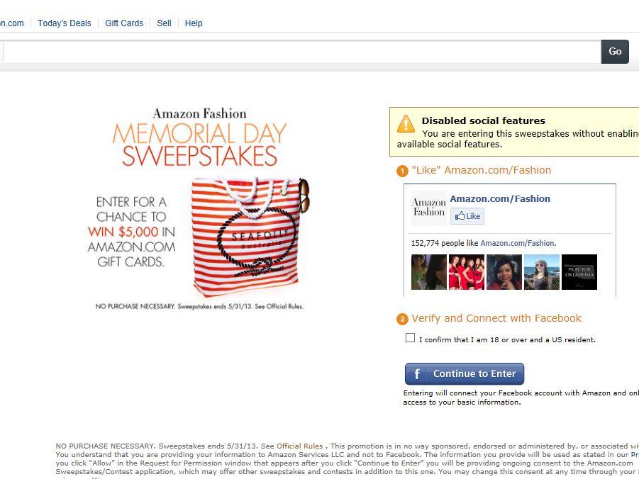 Amazon Fashion Memorial Day Sweepstakes