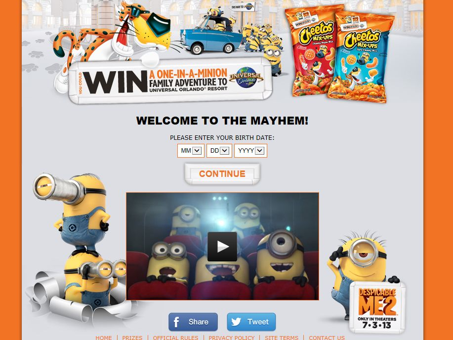 CHEETOS brand One-in-a-Minion Family Vacation Sweepstakes