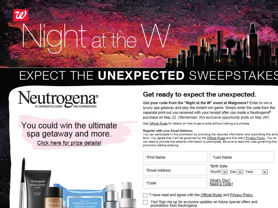 NEUTROGENA Night at the W Sweepstakes