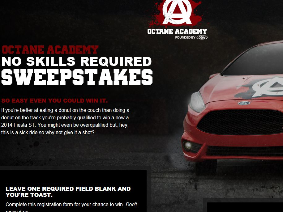 Octane Academy No Skills Required Sweepstakes