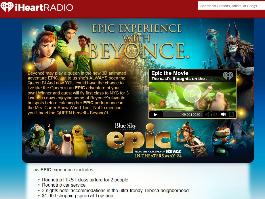 EPIC Experience with Beyonce Sweepstakes