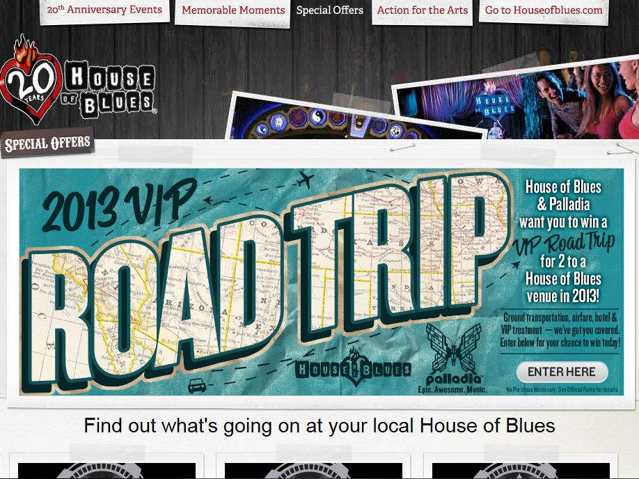 House of Blues 20th Anniversary VIP Roadtrip Sweepstakes