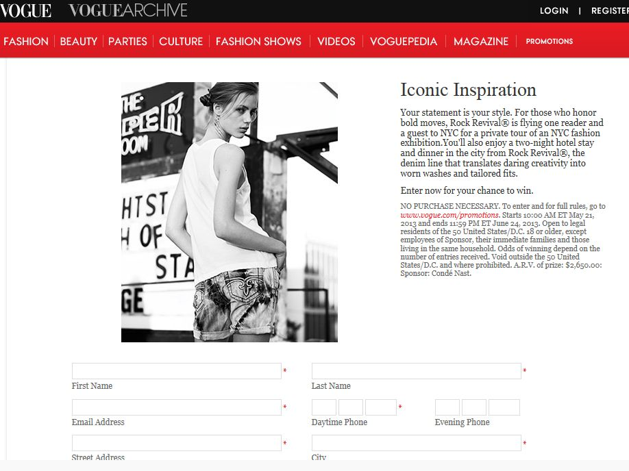 Vogue Miss Me Iconic Inspiration Sweepstakes