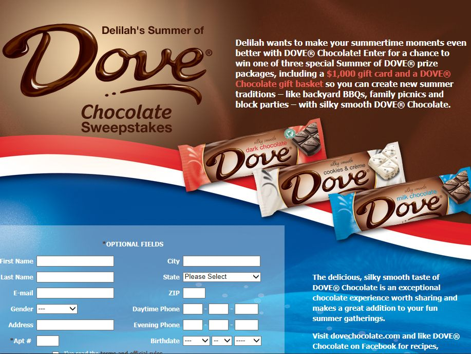 Delilah's Summer of Dove Chocolate Sweepstakes