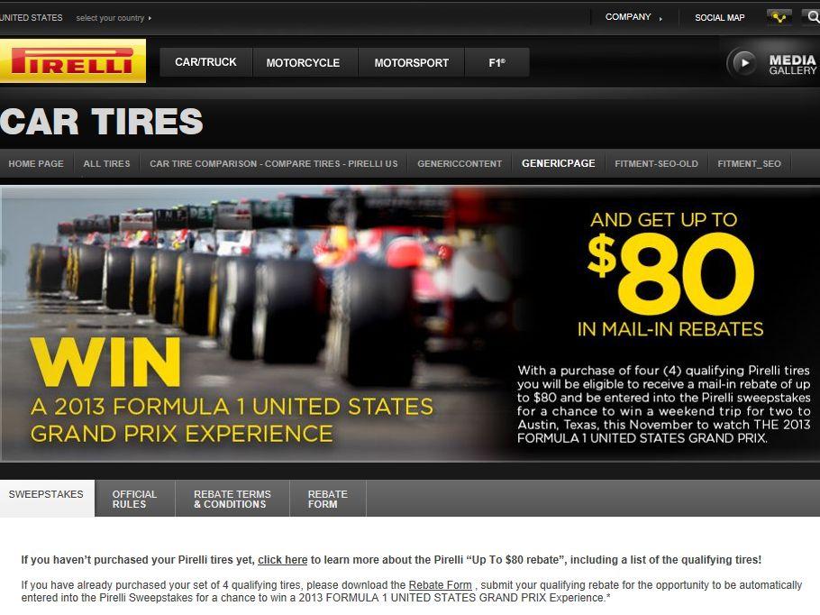 Pirelli 2013 Formula 1 United States Grand Prix Sweepstakes
