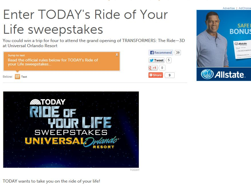 TODAY's Ride of Your Life Sweepstakes
