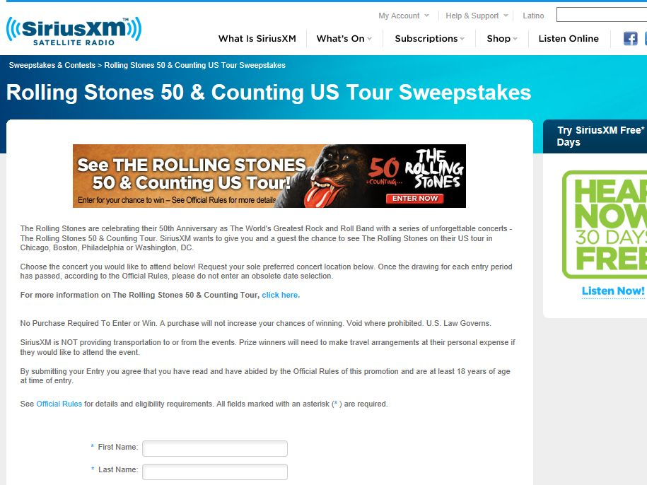 Rolling Stones 50 and Counting U.S. Tour SiriusXM Sweepstakes