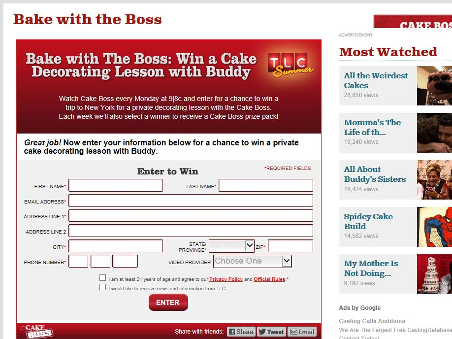 TLC's Bake with the Boss Sweepstakes