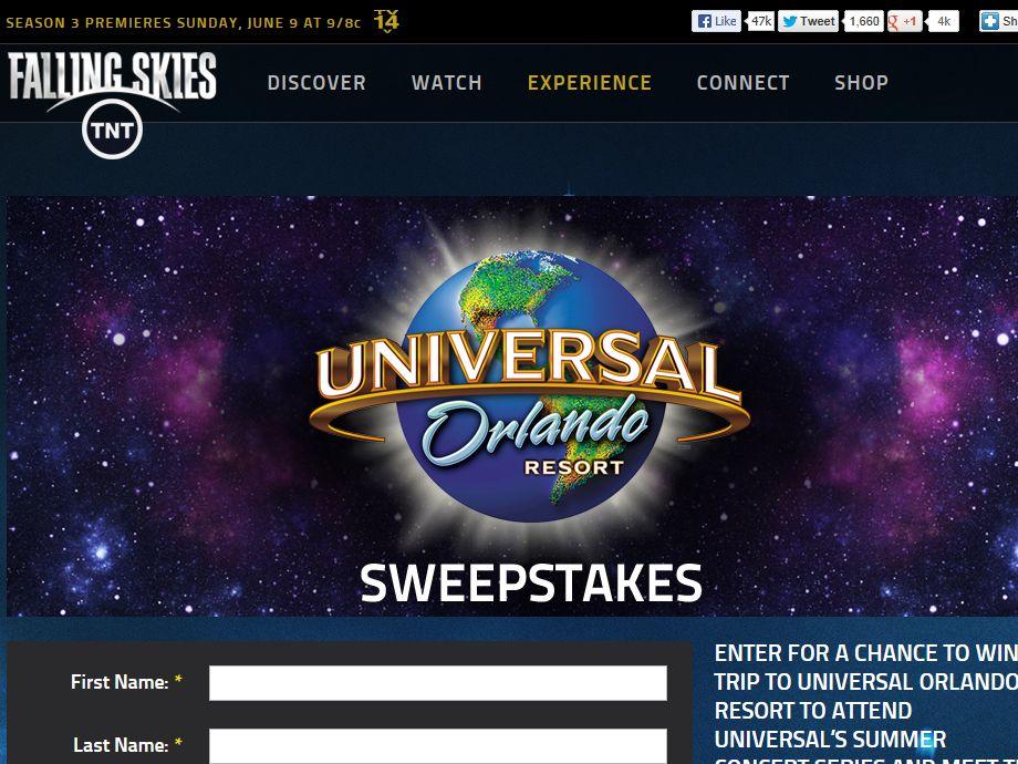 Falling Skies - Universal Studios Summer Concert Sweepstakes
