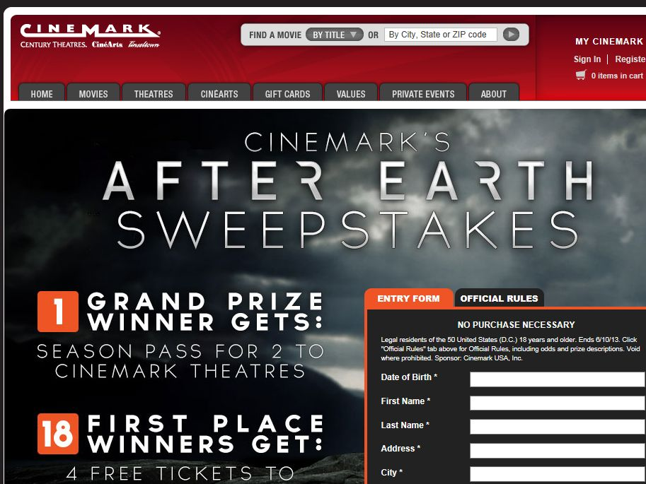 Cinemark's After Earth Sweepstakes