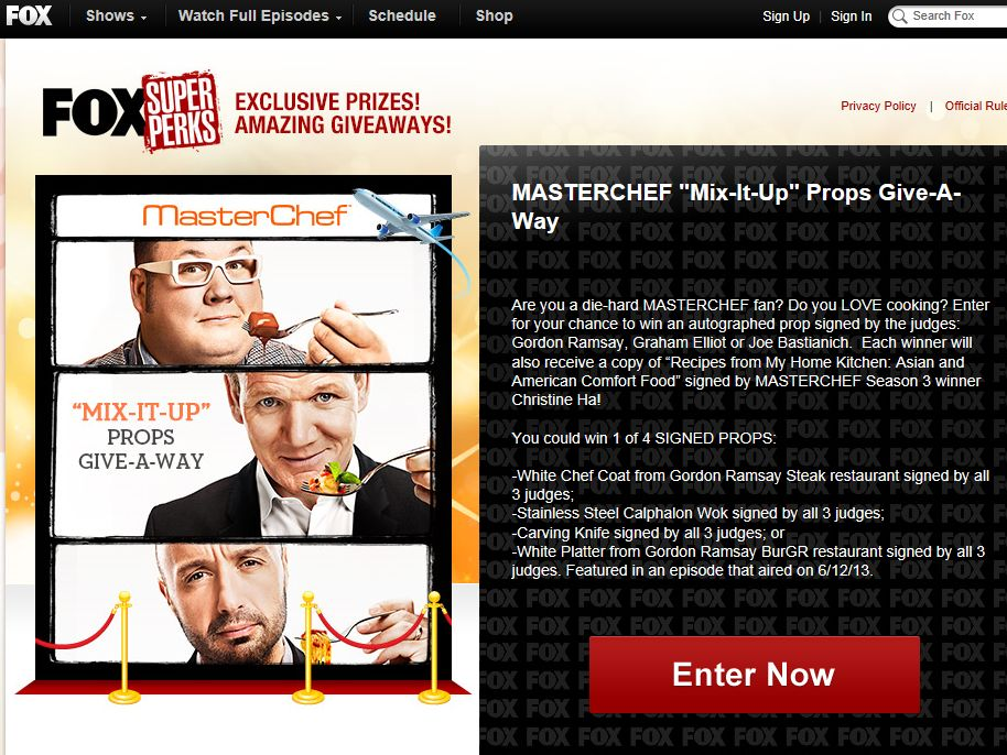 "MASTERCHEF ""Mix-It-Up"" Props Give-A-Way Sweepstakes"