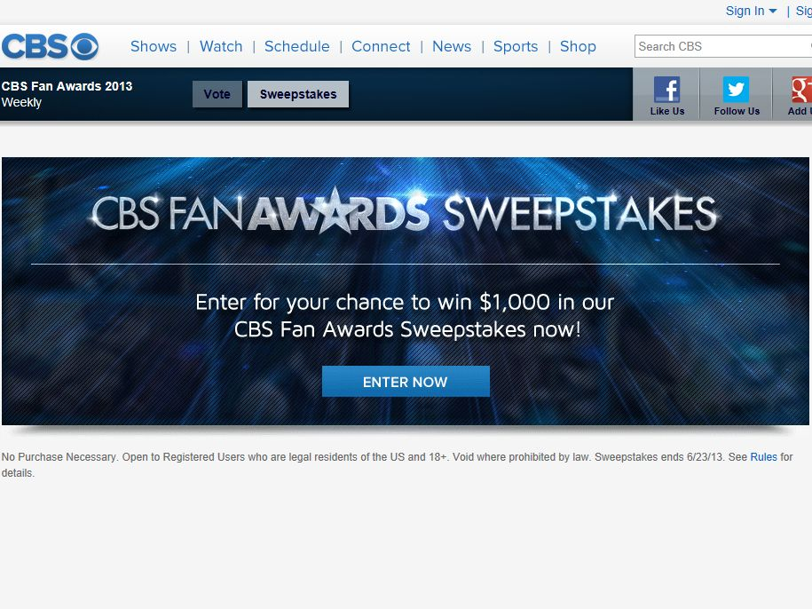 CBS Fan Awards Sweepstakes