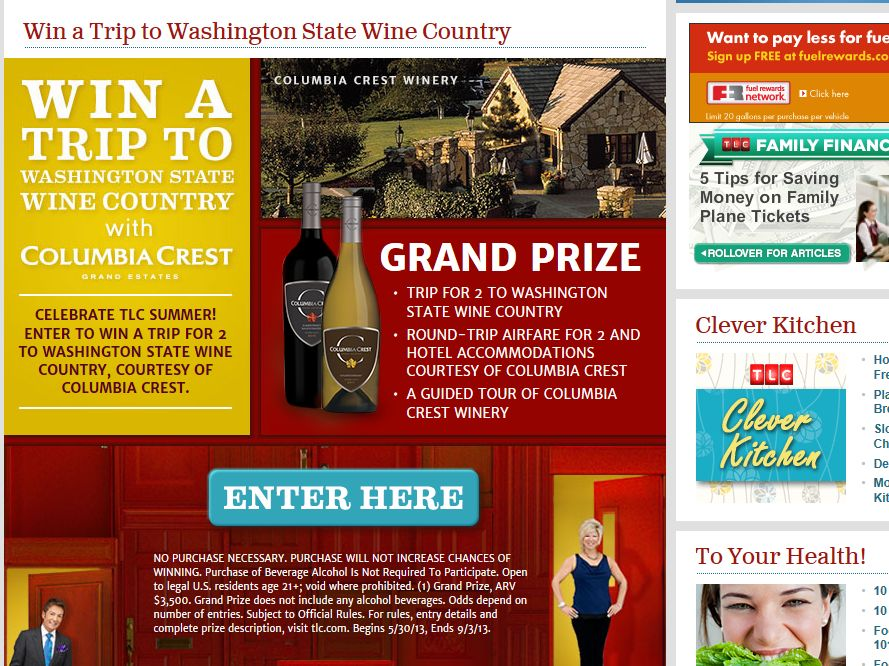 TLC's Win a Trip to Washington State Wine Country Sweepstakes