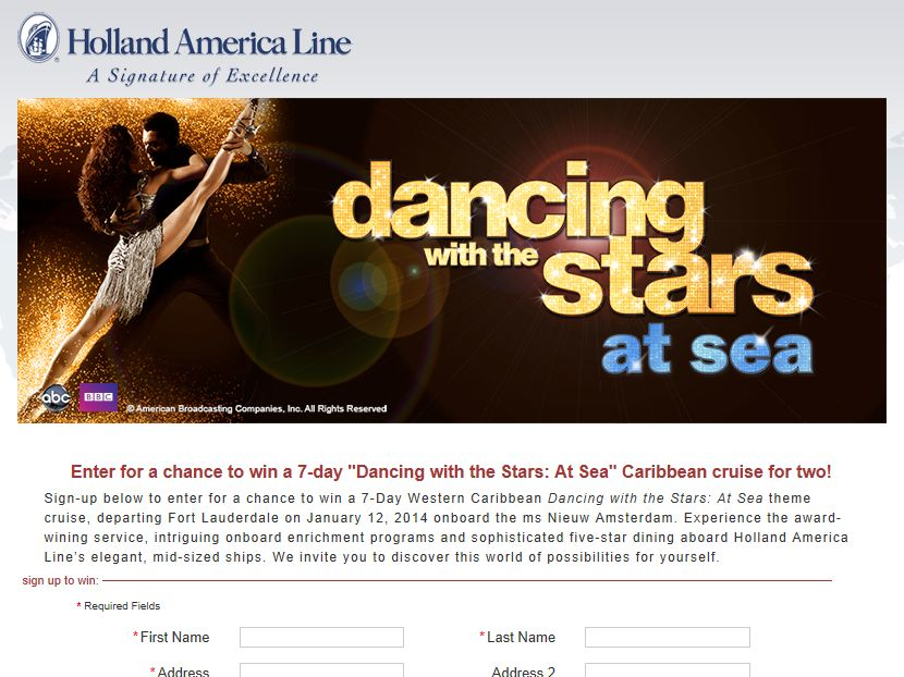 Holland America Dancing with the Stars: At Sea Sweepstakes