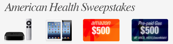 American Health Sweepstakes- $500 to Walmart or Target