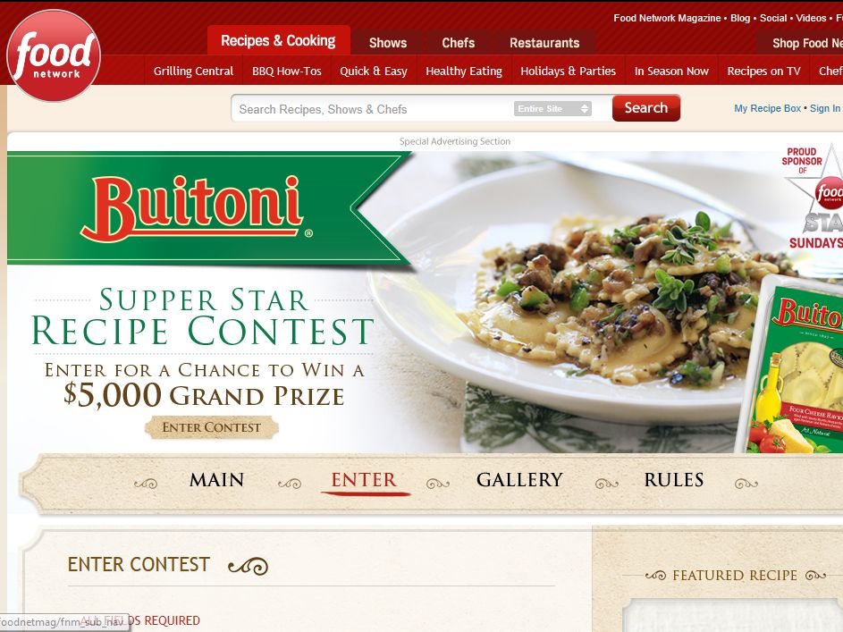 Buitoni Supper Star Recipe Contest