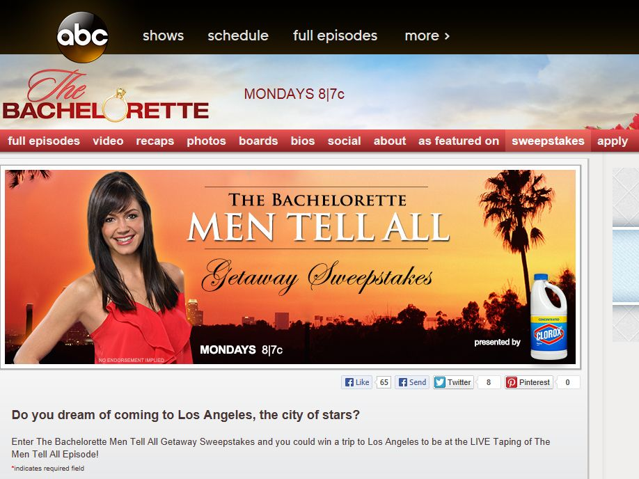 "The Bachelorette ""Men Tell All"" Getaway Sweepstakes"