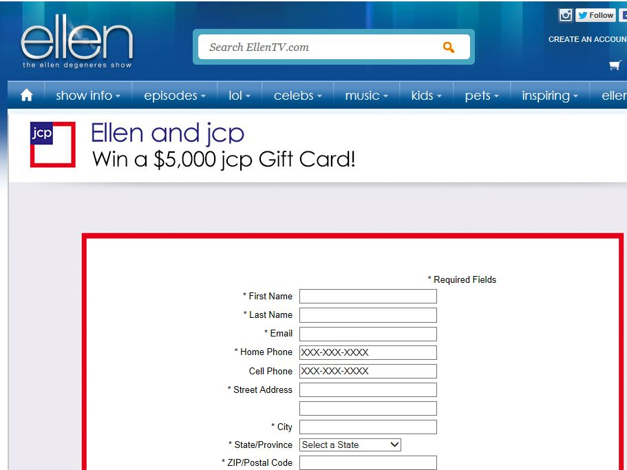 Ellen & JCP Gift Card Giveaway Contest