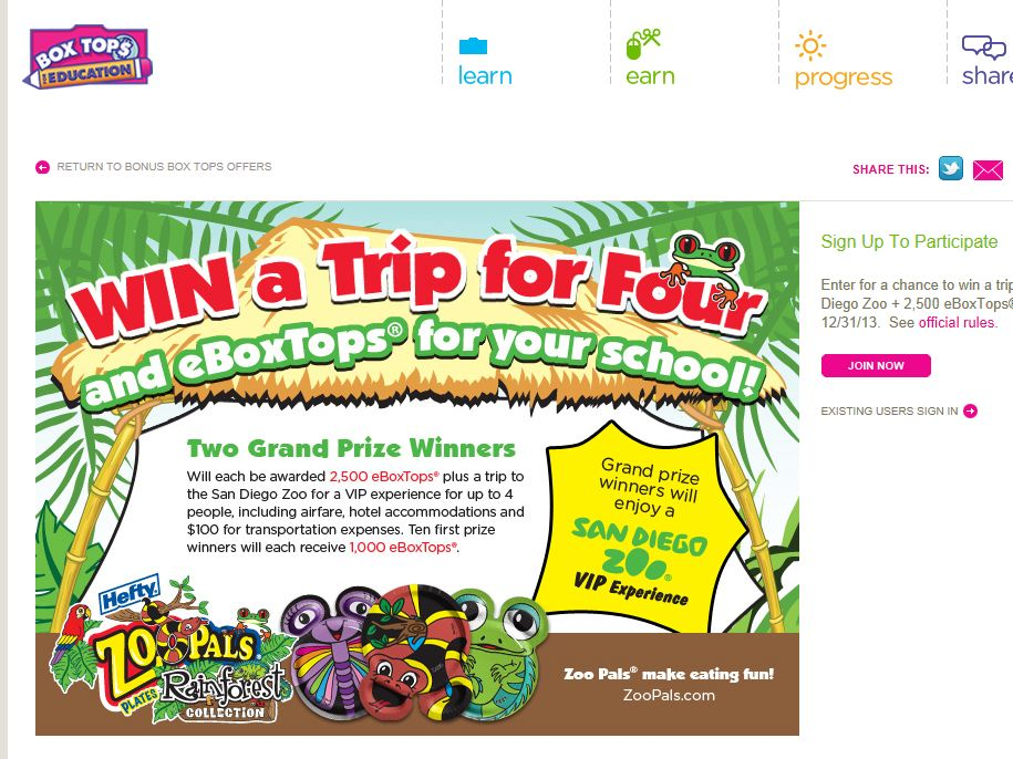 Box Tops Win a Trip to the San Diego Zoo and 2,500 eBoxTops Sweepstakes