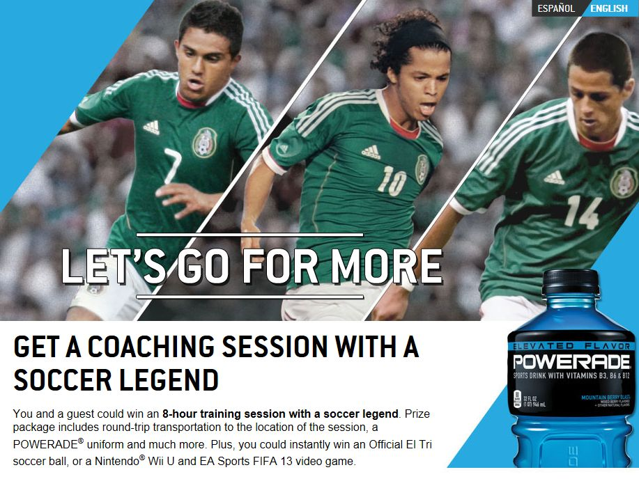 POWERADE Ultimate Coaching Session with a Soccer Legend Sweepstakes