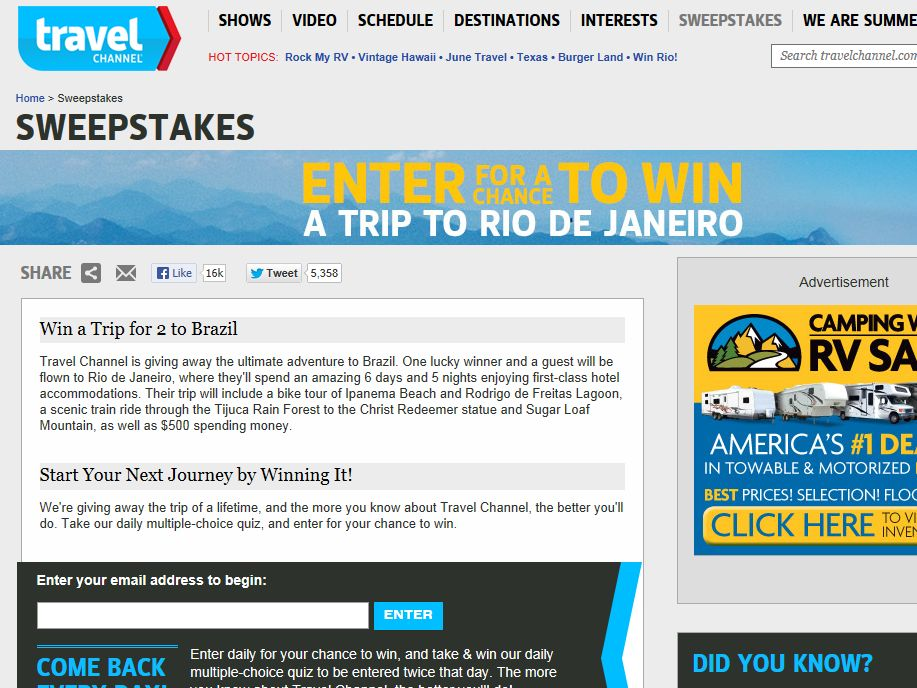 Travel Channel June 2013 Sweepstakes