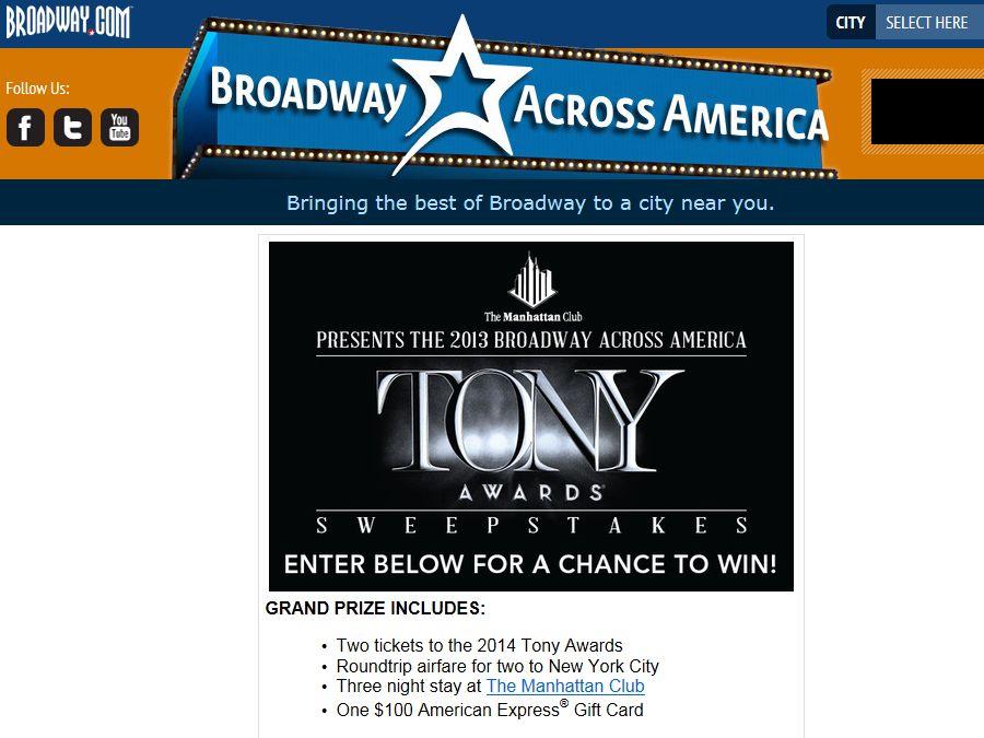 Broadway Across America Tony Sweepstakes