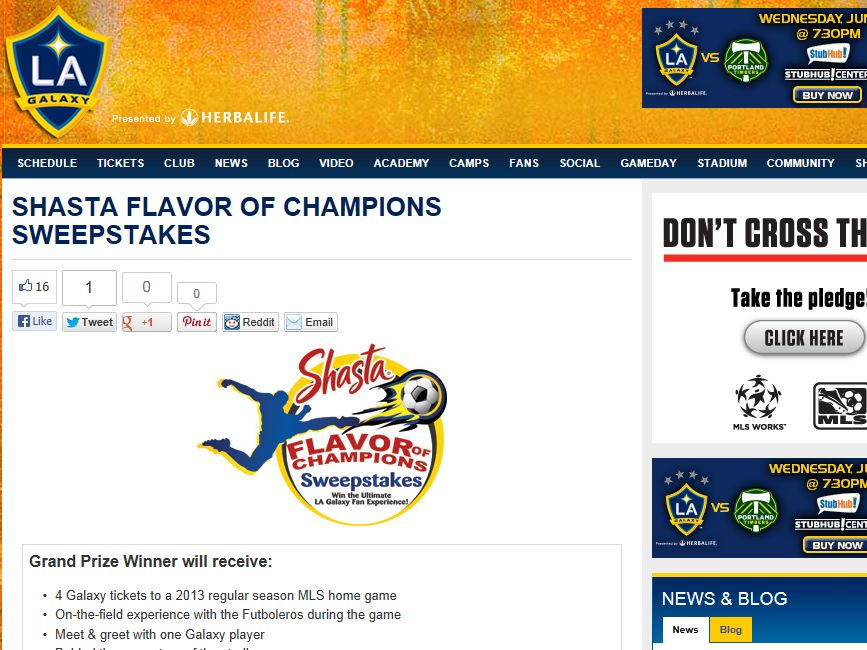 Shasta Flavor of Champions Sweepstakes
