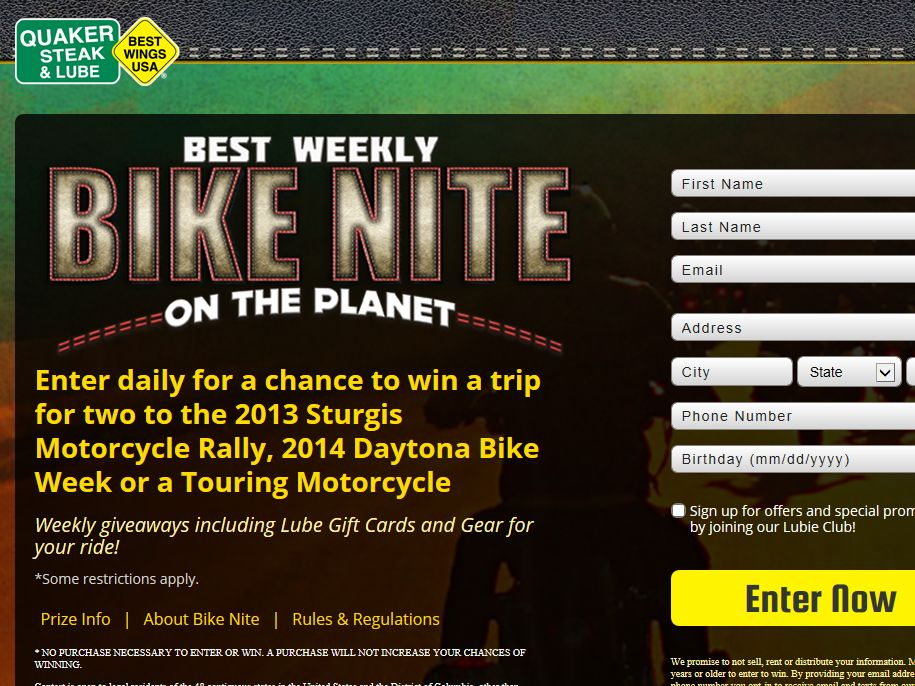 Quaker Steak & Lube Never Slow Down Ultimate Rider Sweepstakes