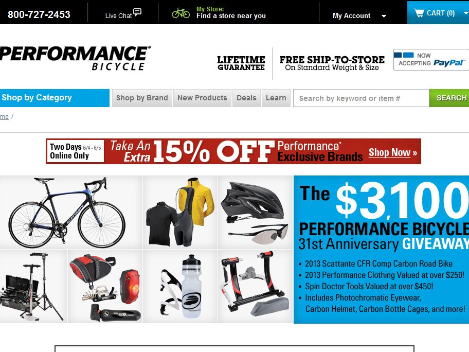 Performance Bicycle 31st Anniversary Giveaway