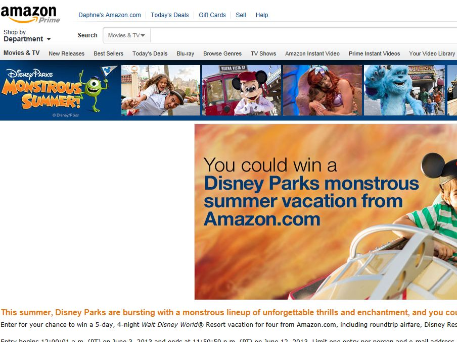 Amazon.com Monstrous Family Vacation for 4 Sweepstakes