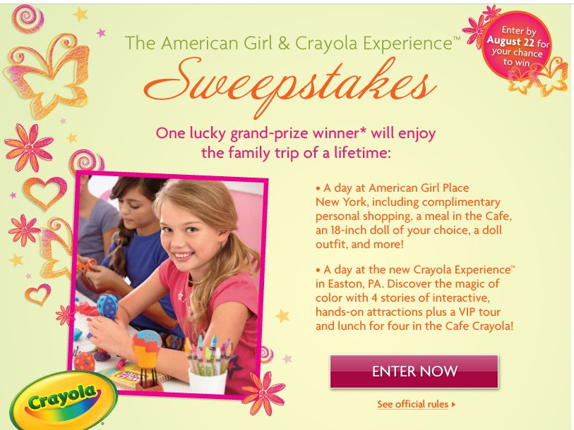 American Girl and Crayola Experience Sweepstakes