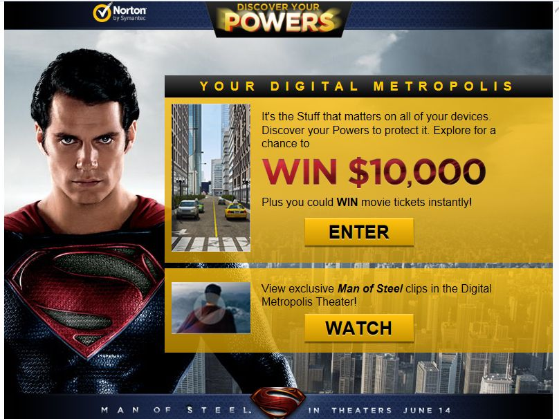 Norton Man of Steel Instant Win Game and Sweepstakes