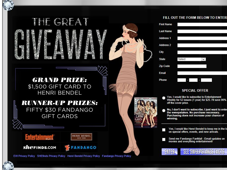 EW.com The Great Giveaway