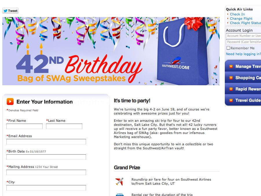 Southwest Airlines 42nd Birthday Sweepstakes